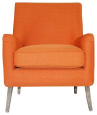 Block & Chisel orange upholstered occasional chair with pointed wooden legs