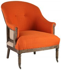 Block & Chisel orange upholstered round back occasional chair on castors