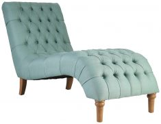 Block & Chisel duck egg blue upholstered button tufted lounger with wooden legs