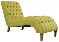 Block & Chisel green upholstered button tufted lounger with wooden legs