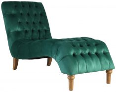 Block & Chisel emerald upholstered button tufted lounger with wooden legs