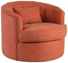 Block & Chisel orange upholstered swivel tub chair
