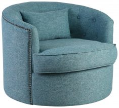 Block & Chisel teal upholstered swivel tub chair