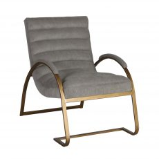 Gold metal framed chair upholstered in Grey cord fabric.