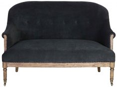 Block & Chisel charcoal velvet upholstered 2 seater sofa