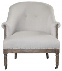 Block & Chisel beige upholstered round back occasional chair on castors