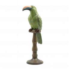 Toucan On Stand - Green toucan with yellow beak