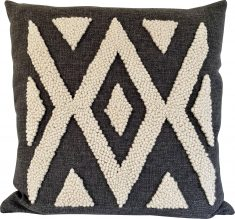 Charcoal punch needle cushion with natural detail