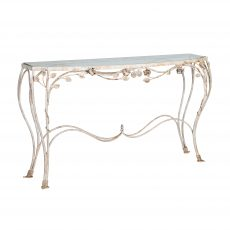 Rustic white metal console with glass top
