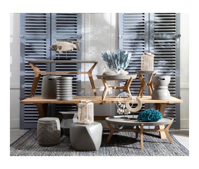 Block & Chisel round natural concrete stool