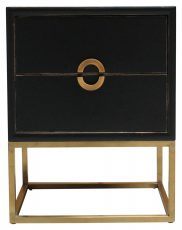 Block & Chisel bedside table 2 drw black laquered with gold metal base