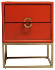 Block & chisel bedside table table orange laquer 2 drw with gold metal base
