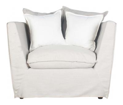 Block & Chisel oatmeal linen upholstered armchair