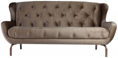 Block & Chisel Old Gold Velvet Sofa With Deep Button
