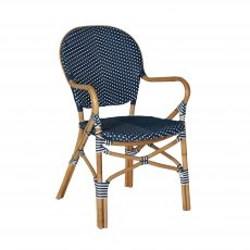 Dumont armchair in rattan and weave blue and white pattern
