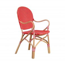 red and white parisan armchair