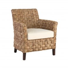 Furzey Occasional Armchair with weaved pattern and white cushion