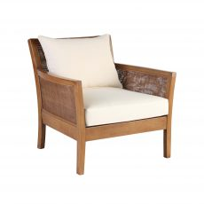 Felley lounge chair in brown wood and cream cushions