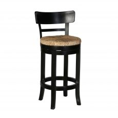Swivel counter stool in black with backrest and brown seating