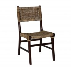 Larissa dining chair with rattan backrest and black legs
