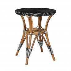 Patio round table in rattan with black and white pattern top