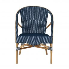 Blue and white pattern rattan lounge chair