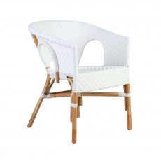 white and natural rattan and cane tub chair