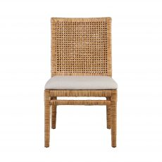natural rattan dining chair with upholstered seat