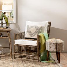 Block & Chisel natural rattan armchair with white cushions