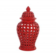 Red cut out ginger jar with lid