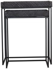 Block & Chisel square dark brown rattan top nesting tables