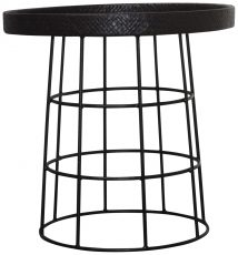 Block & Chisel round brown rattan top side table