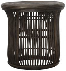 Block & Chisel round antique brown rattan side table