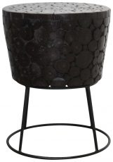 Block & Chisel round wooden top side table