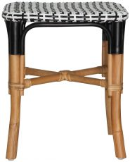 Block & Chisel square rattan stool with black and white weaved seat