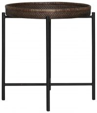 Block & Chisel round rattan tray top side table with metal legs