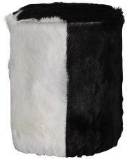 Block & Chisel round wooden pouf covered with black and white goat hide