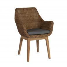 Block & Chisel synthetic rattan armchair with recycled teak wooden legs