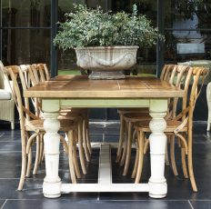 Block & Chisel two tone weathered oak dining table with antique white base