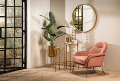 Pink velvet occasional chair with gold metal frame and legs