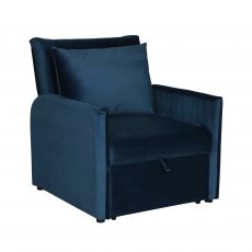 Blue velvet sleeper armchair