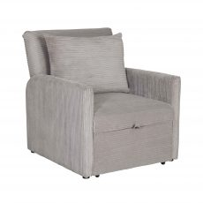 Grey corduroy sleeper armchair