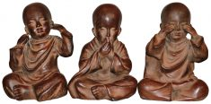 Block & Chisel set of 3 resin buddah statue