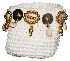 Block & Chisel macramé basket with shells and metal brass beads