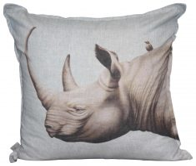 Block & Chisel rhino head linen cushion