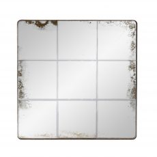 Grid square mirror with round corners and black frame