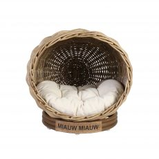 Rattan cat basket with cushion