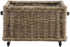 Block & Chisel kubu rattan basket with leather handles