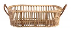 Block & Chisel oval kubu rattan laundry basket with leather handles