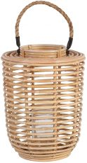 Block & Chisel round natural kubu rattan candle holder
